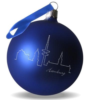 Weihnachtskugel mit Gravur Skyline